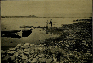 "Picture from ""The Awakening of Harrisburg"" showing an unsanitary beach in 1902"