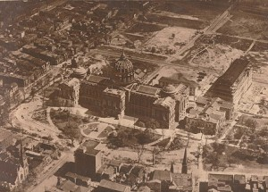 A picture of the new capital complex in 1923, highlighting the demolition of the Eighth Ward.