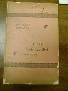 The 1890 Municipal Report of Harrisburg.  Source accessed at Dauphin County Historical Society Archives, MG030, Box 1 of 6, Folder 27.