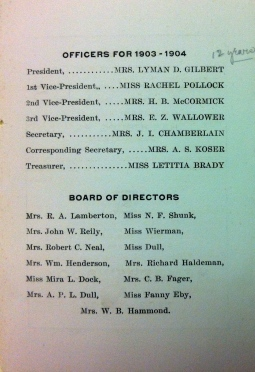 The first page of one of the Civic Club's yearbooks