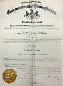 A certificate presenting Mira Dock as a member of the State Forestry and Reservation Commission