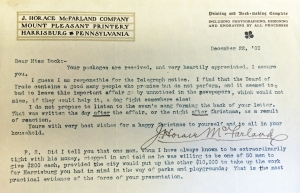 A letter from McFarland discussing the impact of the City Beautiful speech
