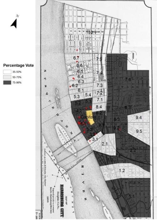 This map shows the residences (red) of some of the principal reformers in the improvement campaign of 1901-1902 against the background of how the city voted in February 1902 for the bond issue to support improvements.