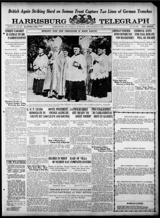 Issue of the Harrisburg Telegraph from September 22, 1916 Found http://chroniclingamerica.loc.gov/lccn/sn85038411/issues/